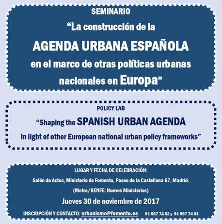 Jornada Agenda Urbana Española en el marco de otras políticas urbanas nacionales en Europa